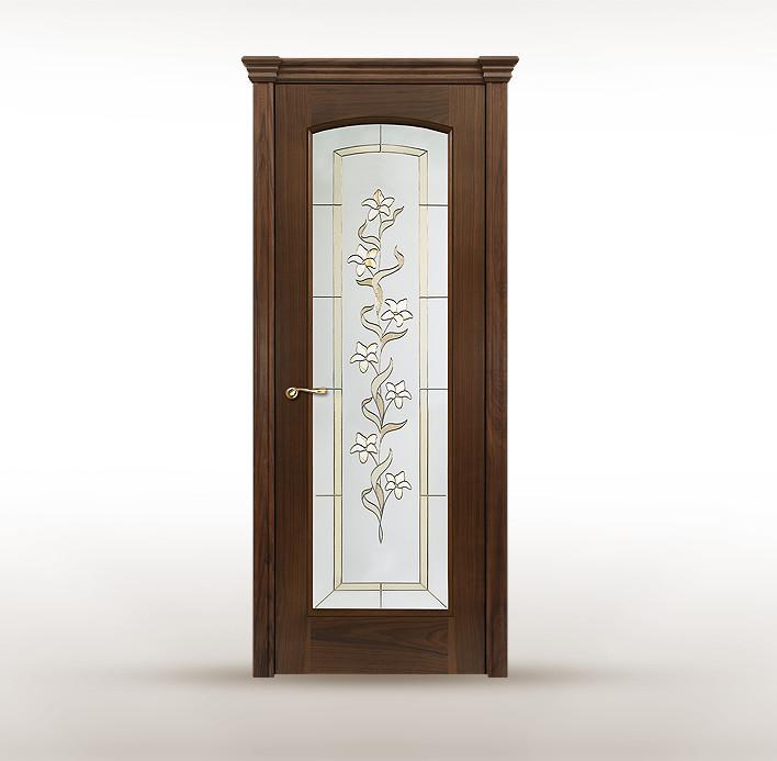 """Классическая деревянная дверь с витражом """"Астория В"""""""