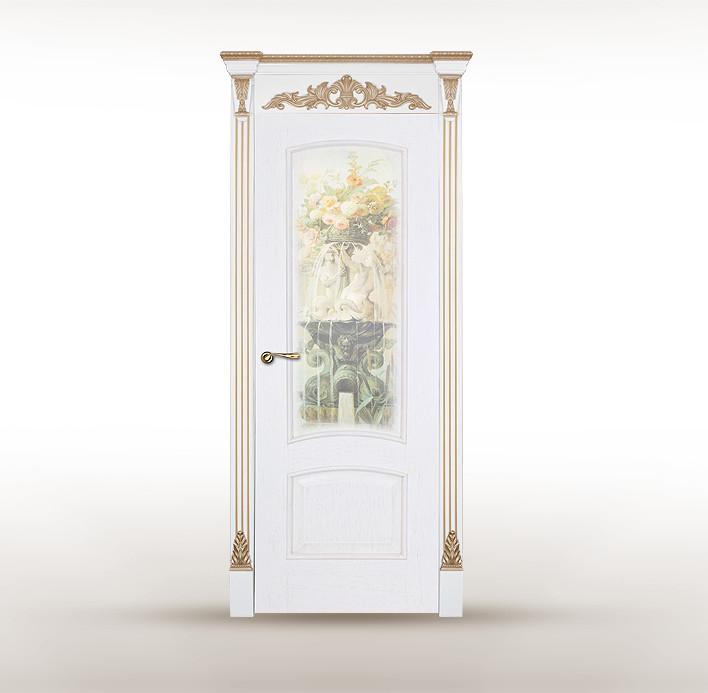 """Классическая белая дверь с патиной и рисунком """"Астория"""""""