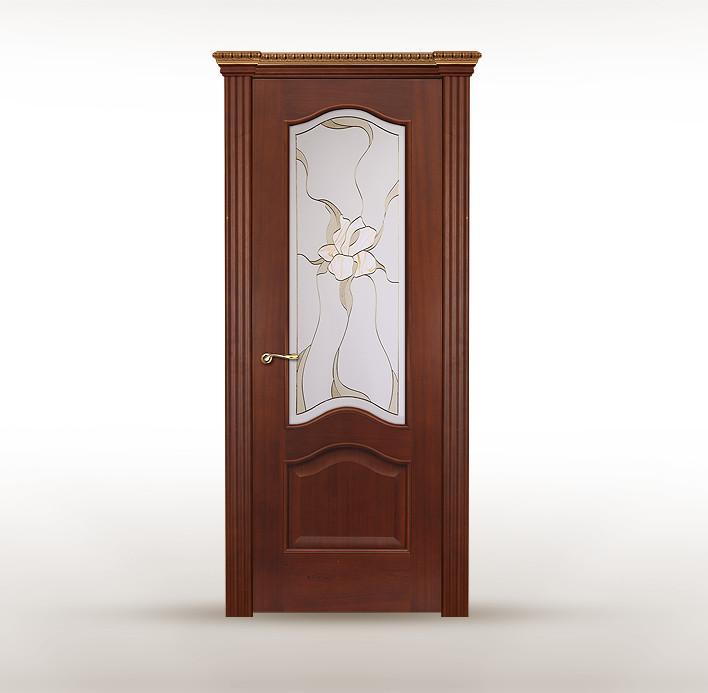 """Классическая дверь из красного дерева с витражом """"Беличе"""""""
